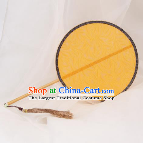Chinese Ancient Traditional Palace Fans Princess Round Fan Hanfu Yellow Silk Fans for Women