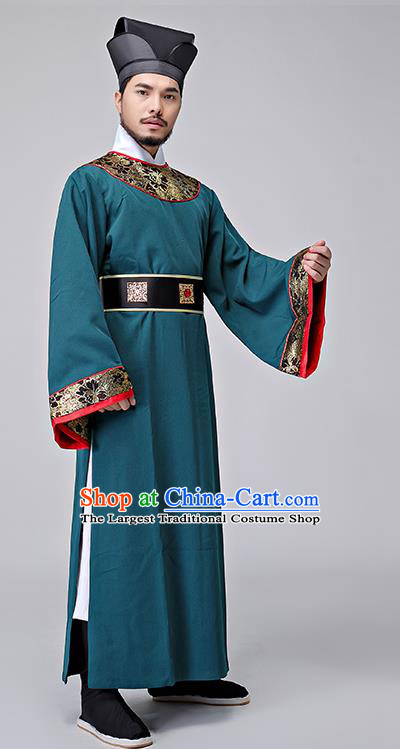 Chinese Ancient Drama Costumes Green Hanfu Robe Song Dynasty Prime Minister Clothing for Men