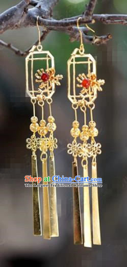 Chinese Traditional Wedding Golden Earrings Ancient Bride Hanfu Jewelry Accessories for Women