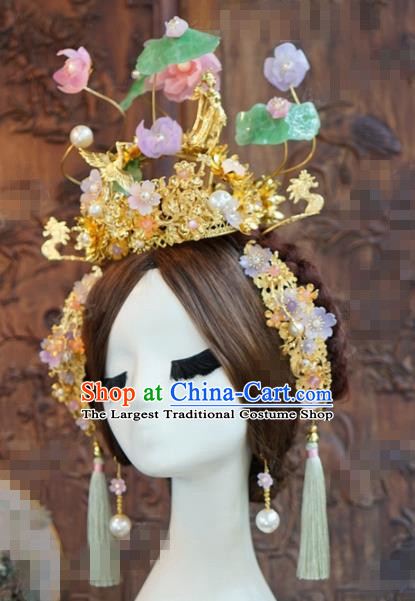 Chinese Ancient Wedding Hair Accessories Lotus Phoenix Coronet Palace Queen Hairpins for Women