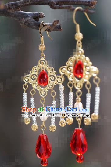 Chinese Traditional Wedding Hanfu Tassel Earrings Ancient Bride Jewelry Accessories for Women