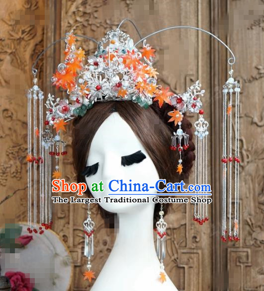 Chinese Ancient Wedding Hair Jewelry Accessories Palace Phoenix Coronet Hairpins Complete Set for Women