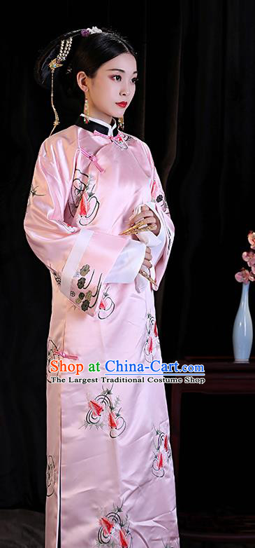 Chinese Ancient Drama Clothing Qing Dynasty Manchu Imperial Concubine Embroidered Costumes for Women