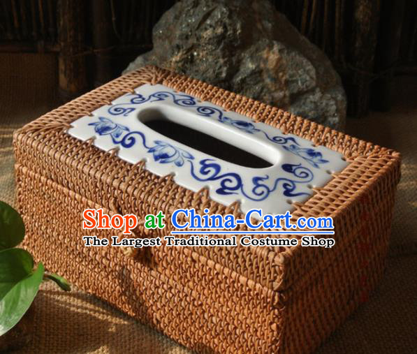 Asian Vietnamese Traditional Craft Rattan Containing Box Straw Plaited Storage Box