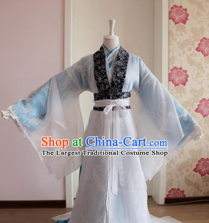 Chinese Traditional Cosplay Nobility Childe Costumes Ancient Swordsman Blue Clothing for Men