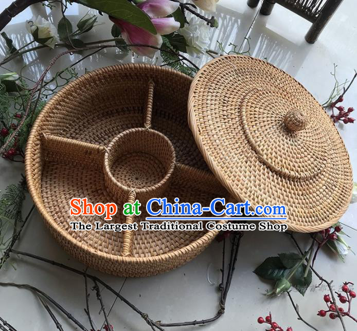 Asian Vietnamese Traditional Rattan Craft Artware Straw Plaited Tea Caddy Storage Box