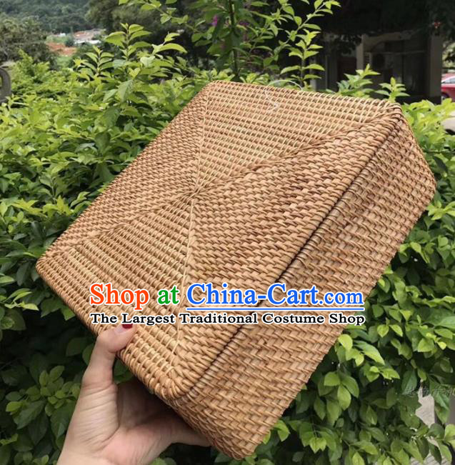 Asian Vietnamese Traditional Rattan Craft Artware Straw Plaited Square Tea Box