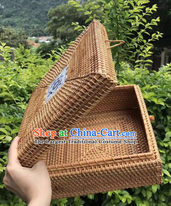 Asian Vietnamese Traditional Rattan Craft Artware Straw Plaited Square Storage Box