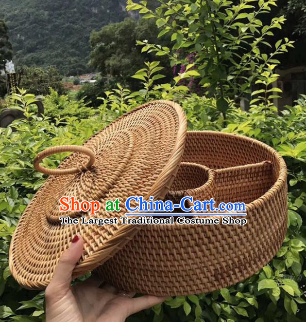Asian Vietnamese Traditional Rattan Craft Artware Straw Plaited Storage Box