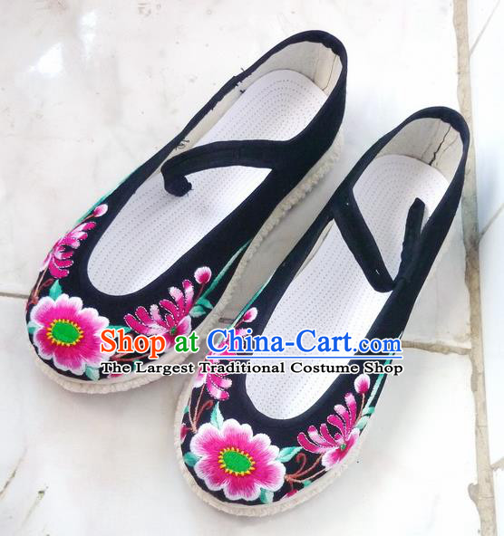 Chinese Traditional Hanfu Shoes Ancient Black Cloth Embroidered Shoes Handmade Shoes for Women
