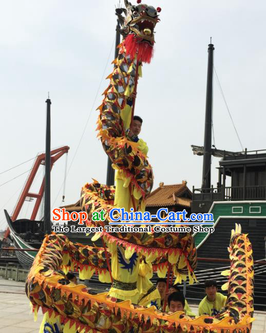 Chinese Folk Dance Dragon Dance Competition Black Dragon Head Traditional Dragon Dance Costumes Complete Set for Adult