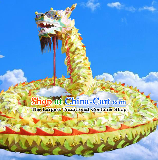 Chinese Dragon Dance Competition Yellow Dragon Head Traditional Dragon Dance Costumes Complete Set for Adult