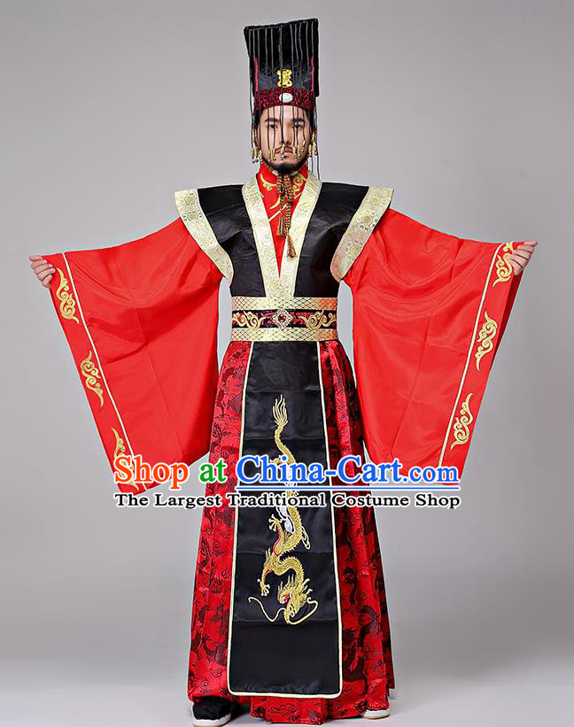 Traditional Chinese Qin Dynasty Drama Costumes Ancient Emperor Imperial Robe and Headwear for Men