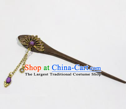 Chinese Traditional Palace Hair Accessories Wood Hairpins Ancient Tassel Hair Clip for Women