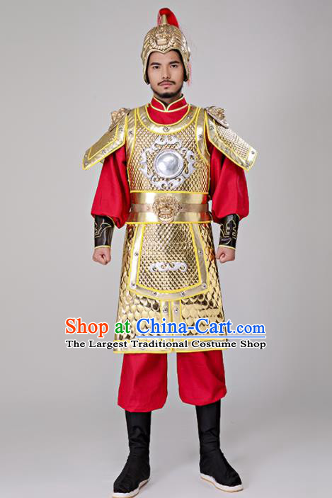 Traditional Chinese Tang Dynasty General Costumes Ancient Drama Warrior Helmet and Body Armour for Men