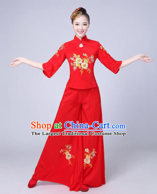 Traditional Chinese Folk Dance Fan Dance Yangko Costumes Group Dance Red Clothing for Women