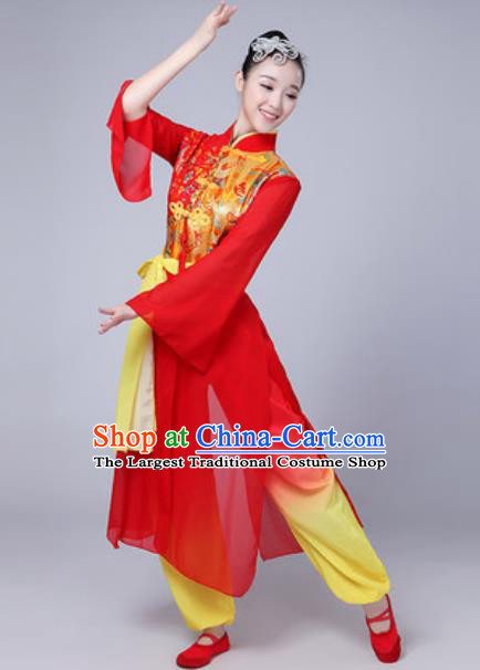 Traditional Chinese Folk Dance Costumes Fan Dance Drum Dance Red Dress for Women