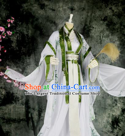 Traditional Chinese Cosplay Scholar Embroidered Costumes Ancient Swordsman Hanfu Clothing for Men