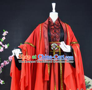 Traditional Chinese Cosplay Princess Wedding Costumes Ancient Swordswoman Red Hanfu Dress for Women