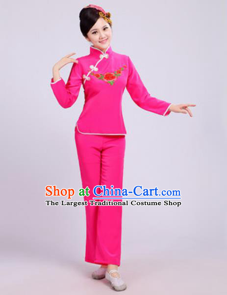 Traditional Chinese Folk Dance Fan Dance Costumes Yanko Dance Group Dance Pink Clothing for Women