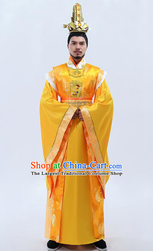 Traditional Chinese Drama Tang Dynasty Emperor Costumes Ancient Majesty Embroidered Imperial Robe for Men