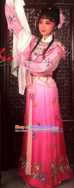 Traditional Chinese Peking Opera Actress Costumes Ancient Peri Princess Rosy Dress for Adults