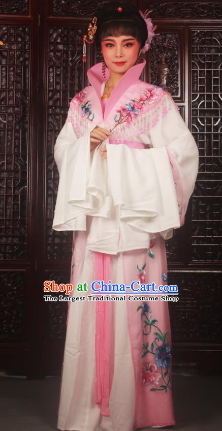 Traditional Chinese Peking Opera Palace Lady Costumes Ancient Imperial Concubine Embroidered Pink Dress for Adults