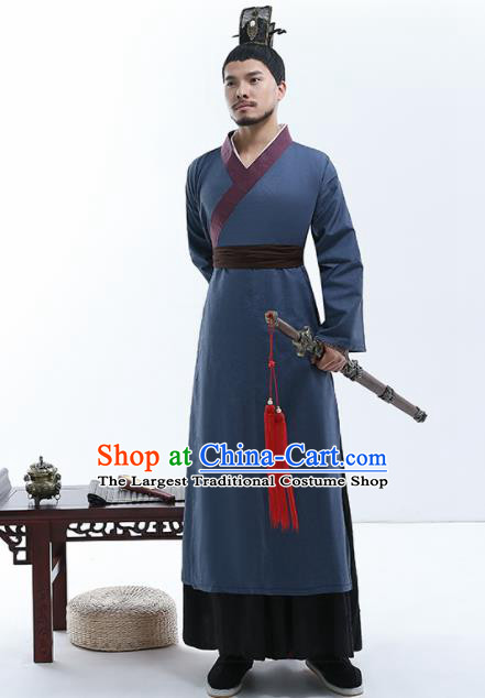 Chinese Traditional Han Dynasty Nobility Childe Costumes Ancient Drama Swordsman Robe for Men