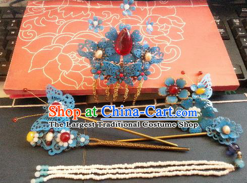 Traditional Chinese Ancient Princess Hairpins Qing Dynasty Hair Accessories Complete Set for Women
