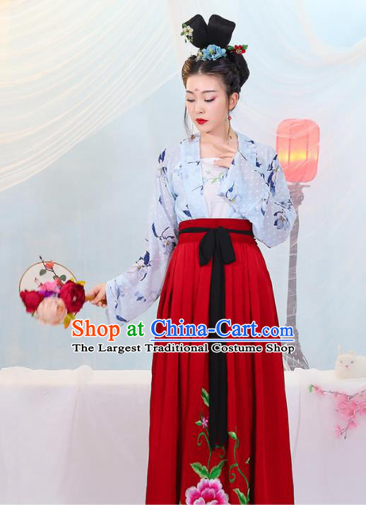 Chinese Traditional Tang Dynasty Las Meninas Costumes Ancient Drama Court Maid Hanfu Dress for Women