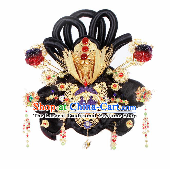 Chinese Traditional Tang Dynasty Hair Accessories Ancient Queen Wigs and Hairpins for Women