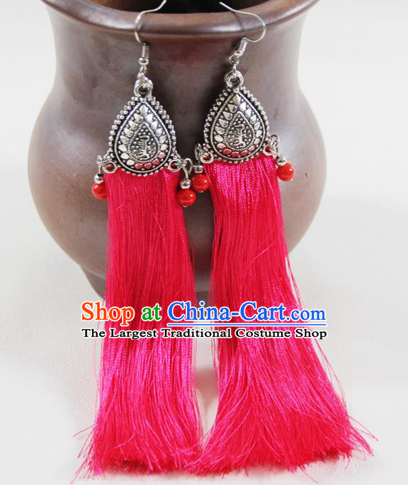 Chinese Traditional Ethnic Pink Tassel Earrings Yunnan National Ear Accessories for Women