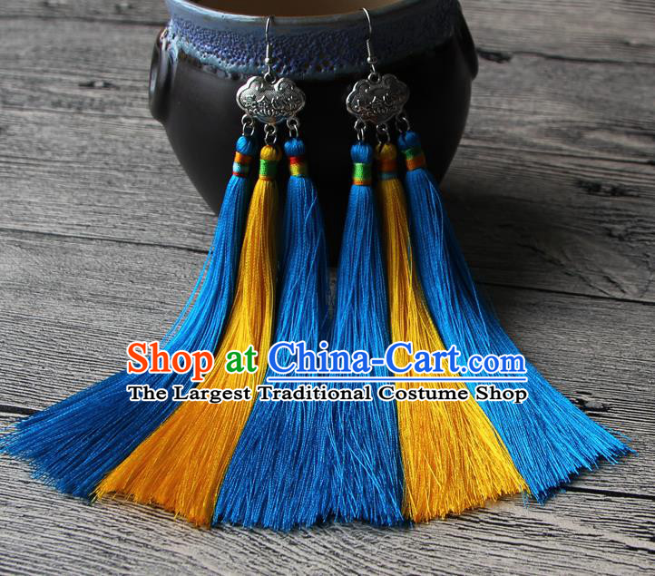 Chinese Traditional Ethnic Yellow and Blue Tassel Earrings National Longevity Lock Ear Accessories for Women
