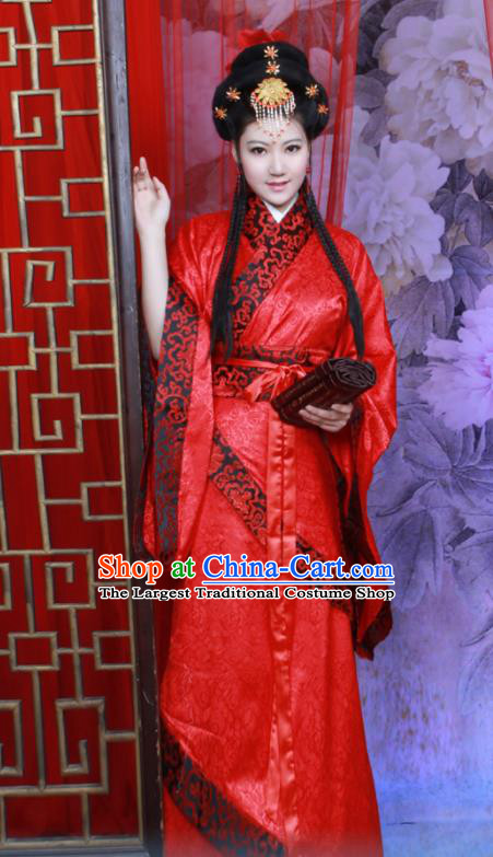 Chinese Ancient Princess Wedding Red Hanfu Dress Han Dynasty Palace Lady Historical Costumes for Women