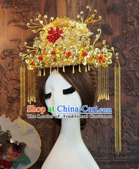 Chinese Handmade Classical Hairpins Hair Accessories Ancient Golden Phoenix Coronet for Women