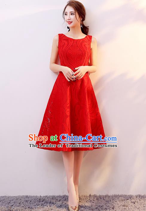Professional Modern Dance Costume Chorus Group Clothing Bride Toast Red Short Dress for Women