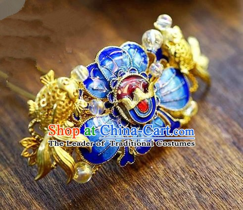 Chinese Handmade Classical Xiuhe Hair Accessories Step Shake Ancient Bride Blueing Lotus Hairpins for Women