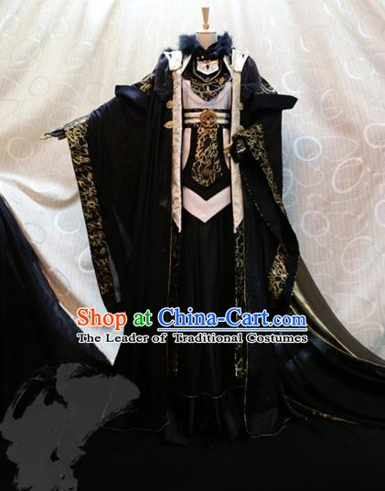 Ancient China Cosplay Han Dynasty Royal Highness Costumes Swordsman Black Clothing for Men