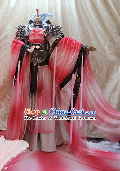 China Ancient Cosplay Empress Clothing Traditional Tang Dynasty Palace Queen Red Dress for Women