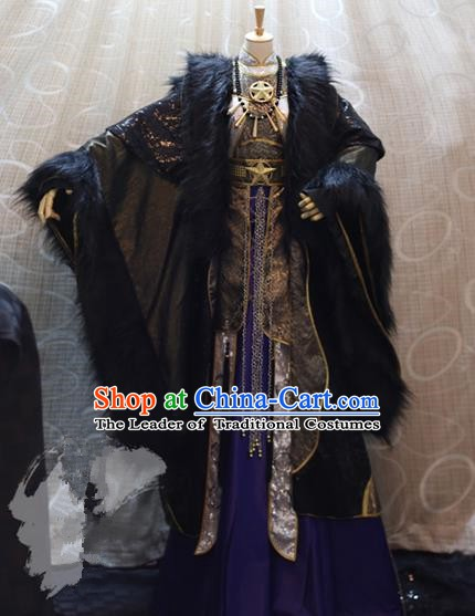 Ancient China Cosplay Imperial Emperor Purple Costumes Swordsman Knight Embroidered Clothing for Men