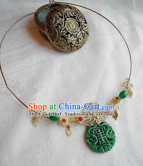 Asian Chinese Traditional Handmade Jewelry Accessories Necklet Bride Jade Necklace for Women