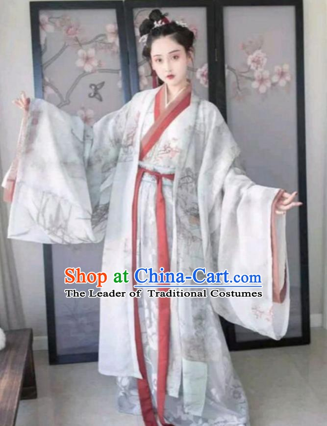 Ancient Traditional China Han Dynasty Palace Lady Embroidered Costume Complete Set for Women