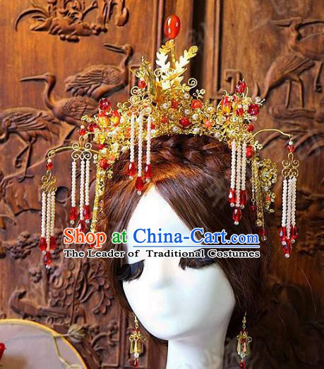 Chinese Handmade Classical Hair Accessories Ancient Red Tassel Phoenix Coronet Hairpins Complete Set for Women