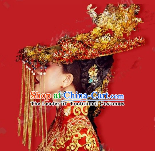 Chinese Handmade Classical Hair Accessories Ancient Exaggerated Phoenix Coronet Hairpins Headdress for Women