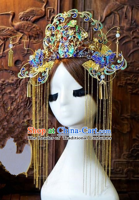 Chinese Handmade Classical Hair Accessories Ancient Tassel Phoenix Coronet Hairpins Hair Clip for Women
