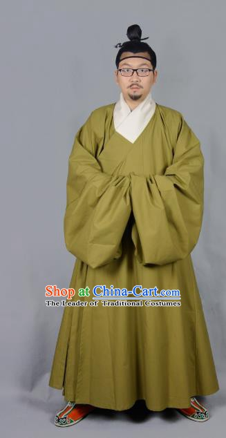 Ancient China Ming Dynasty Swordsman Costumes Green Priest Frock for Men