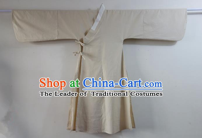 Ancient China Ming Dynasty Swordsman Costumes Beige Priest Frock for Men