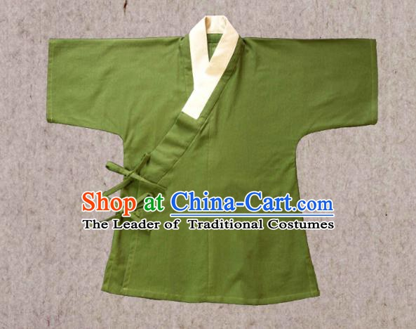 Ancient China Ming Dynasty Swordsman Costumes Hanfu Green Shirts for Men