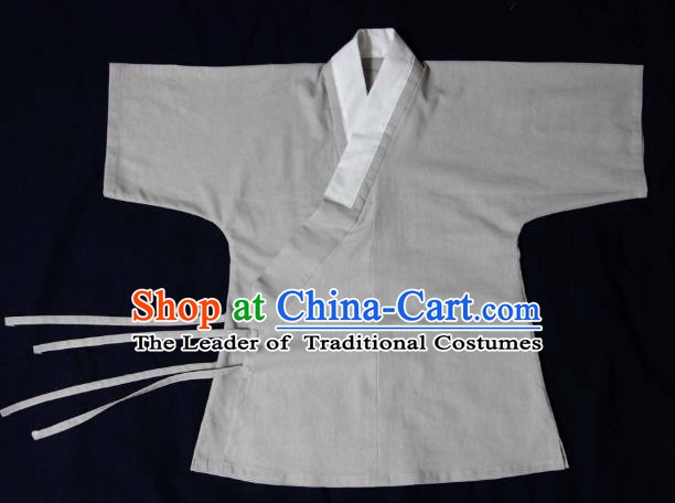 Ancient China Ming Dynasty Swordsman Costumes Hanfu Grey Shirts for Men