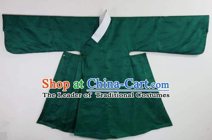 Ancient China Ming Dynasty Taoist Priest Costumes Hanfu Green Robe for Men